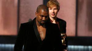 "Kanye 'Douchebag' West ""pretending"" to take Beck's award at the Grammys"